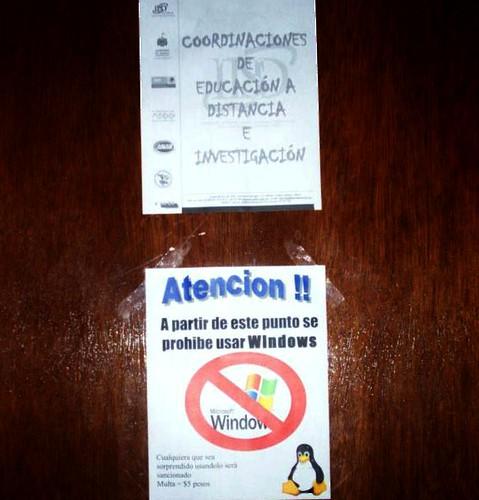 En la coordinacion de Educacion a Distancia e Investigacion del Tecnologico de Puerto Vallarta, esta prohibido el uso del SO de Microsoft