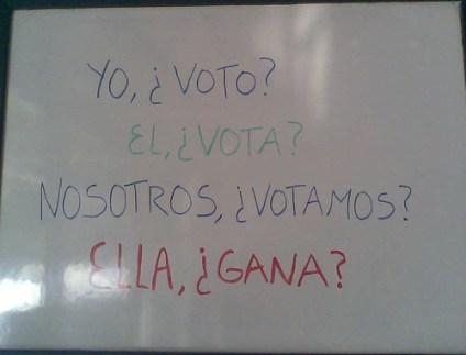 Yo, ¿voto? El ¿vota? Nosotros ¿votamos? Ella ¿gana?