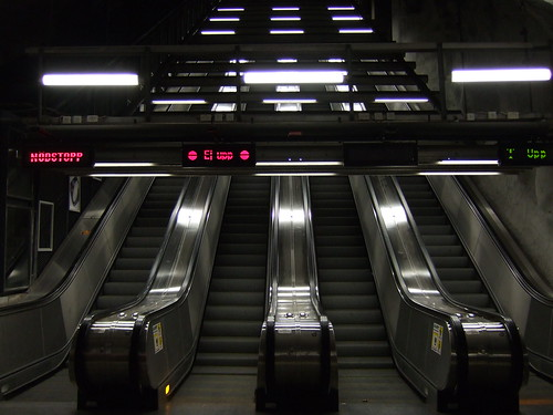 Escalators with displays