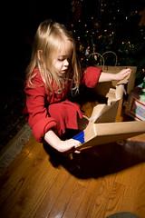 Katie opening Santa's loot