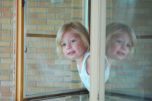 Jessica having fun out the window