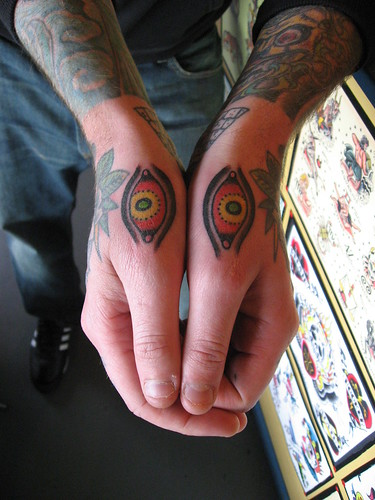 Tony Hundahl Tattooed Eyes on Hands of Steve Byrne