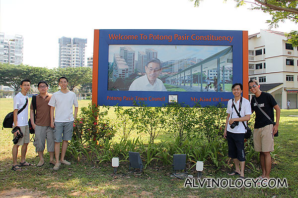 My photo at the billboard with a group of Potong Pasir friends