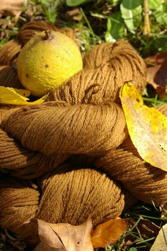 walnut dyed yarn