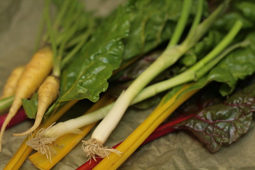 Swiss chard, carrots and scallions all from Weavers Way Farm