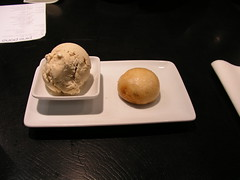 My yummy dessert at Ping Pong: deep-fried lychee bun and toasted almond ice cream
