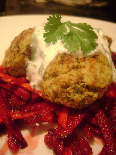Baked Falafel with beetroot and carrot salad