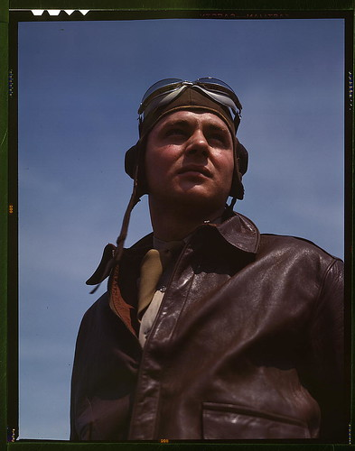 The kind of man Hitler wishes we didn't have. A bomber pilot, captain in a bombardment squadron, just before he climbs aboard his huge YN-17 bombing plane (LOC)