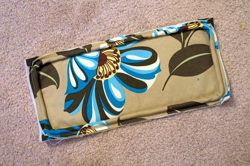 Bottom panel with binding sewn