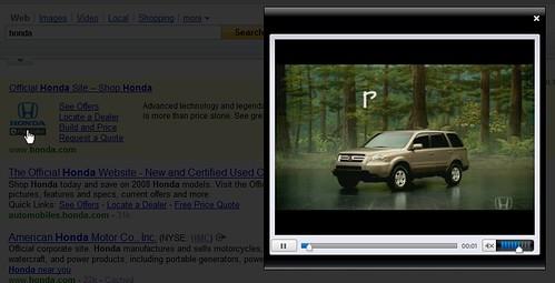 Honda ad on Yahoo