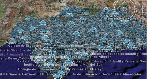 Mapa de Google Earth con centros