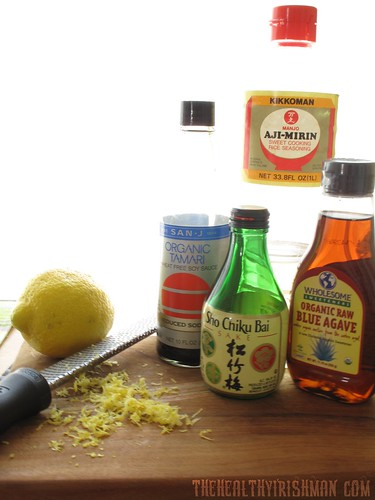 An example of home made teriyaki sauce mise en place.