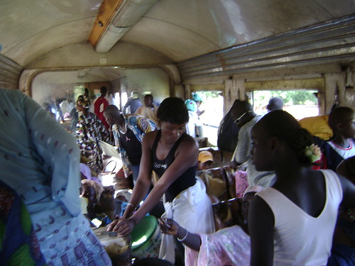 Lots of activity inside the Kayes-to-Bamako train