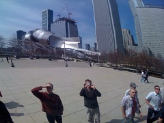 Matt and Duncan reflected in the Bean