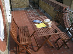 Sunny Sunday morning with my new outdoor furniture!