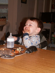 Boogie Boy eating spinach enchiladas