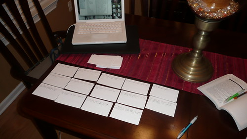 My workspace. You can see my cards, my Macbook, and my copy of The Screenwriters Workshop.