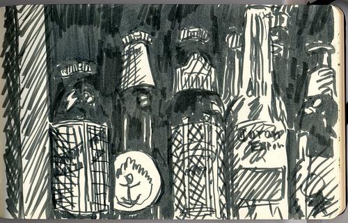 drawing of beer bottles