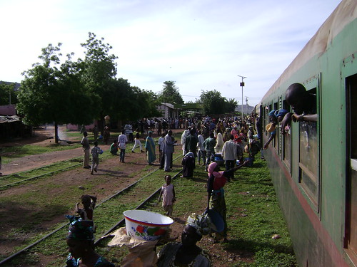 Stopping at a village station on the way to Bamako.
