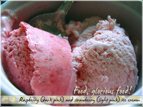 Raspberry & strawberry ice creams