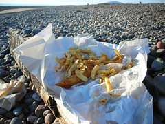 Fish 'n' chips on the beach