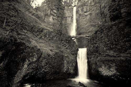 Multnomah Falls in b&w