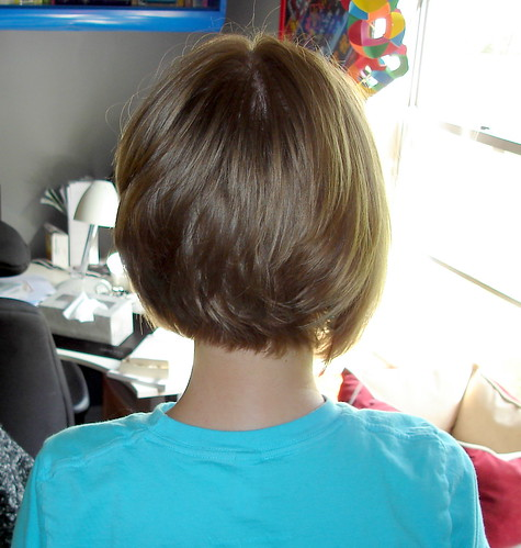 Here's a back view of bob haircut. This is a layered bob with longer layers