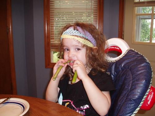 Ladybug eating her asparagus people
