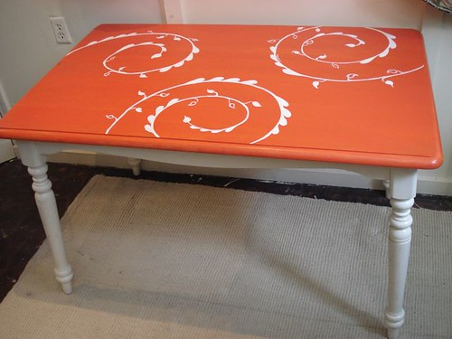 Orange n Wht Table