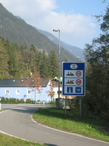 Germany generic speed limit sign at the border