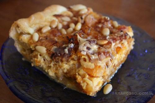 Pumpkin, Pancetta, Parmigiano and Pine Nut Savoury Tart Close-up
