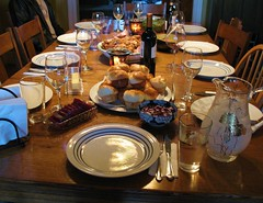 Thanksgiving Table With Food