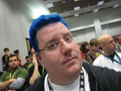 Kevin has blue hair!