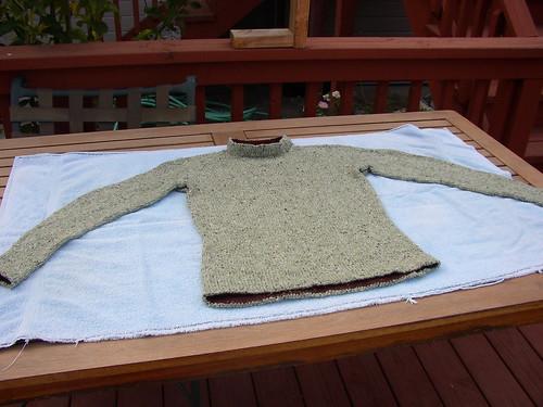green sweater laundry