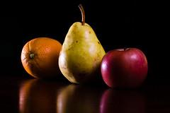 Orange, pear, apple