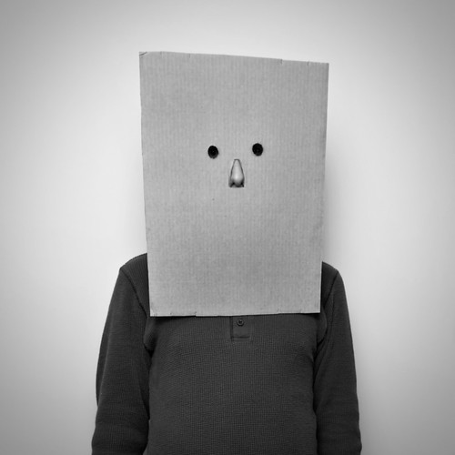 Saul Steinberg in nose mask, New York