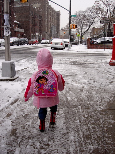 Ladybug boots? Check. Pukey pink coat? Check. Dora bag full of useless crap from her room? Check.
