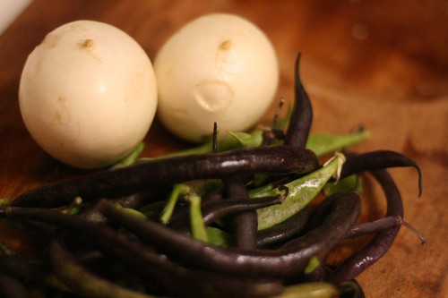 Purple beans, green beans and turnips