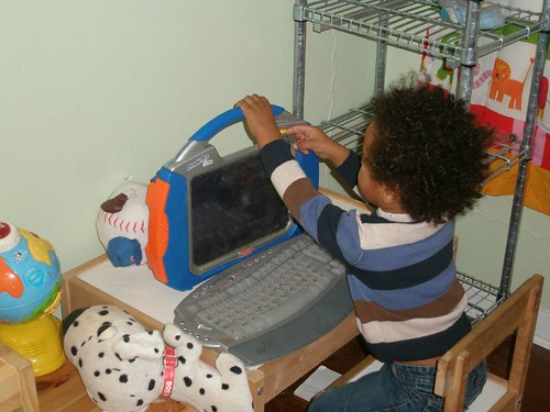 """Setting up his """"laptop"""""""