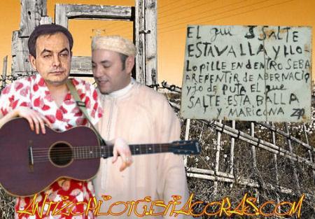 zETApé y el rey moromi en la valla de Melilla height=