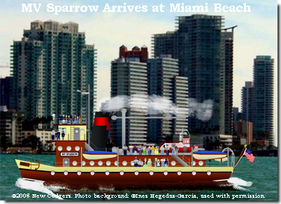 MV Sparrow Arrives at Miami Beach ©2008 New Codgers