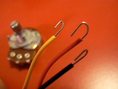 Hooked wires and potentiometer