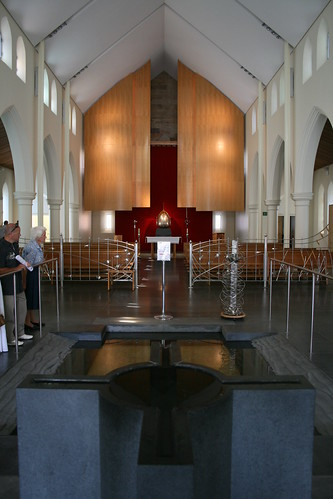 Baptismal font at the entrance of St. Patricks Cathedral, Parramatta; leading to the Blessed Sacrament Chapel and cathedral