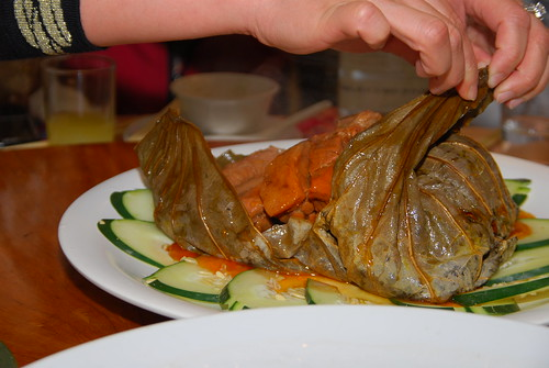 Leaves wrapping savory pork ribs inside (steamed).