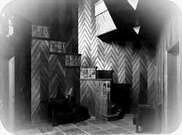 Casa Sommerfeld, entrada. Tallas de Joost Schmidt, sillones de Marcel Breuer. Contraste ritmo, forma y dirección de la clase de Itten.