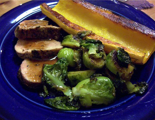 pork, brussels sprouts and delicata squash