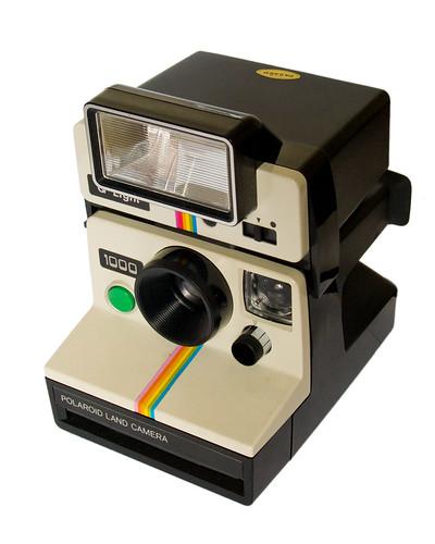 Polaroid Land Camera 1000 & Q-Light electronic flash (three-quarter view) by Timmy Toucan