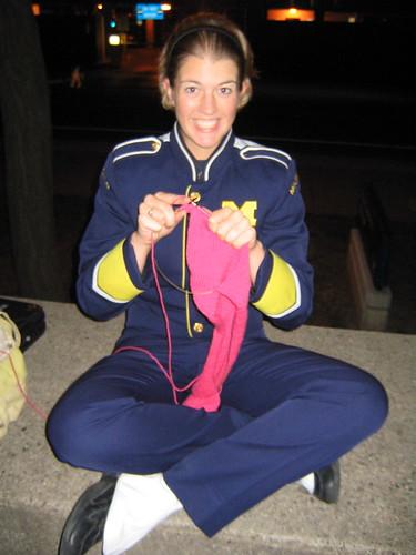 knitting in uniform