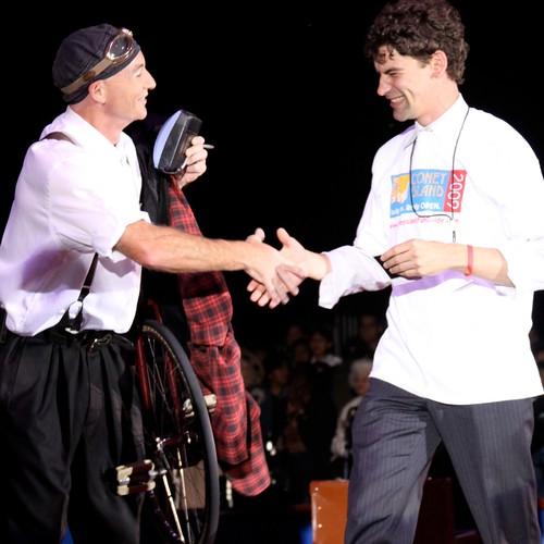 Success! Ringling Performer Justin Case and Volunteer Nate Bliss. Photo © Maya Haddad via flickr