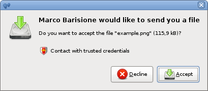 Accept file transfer dialog with trust level button